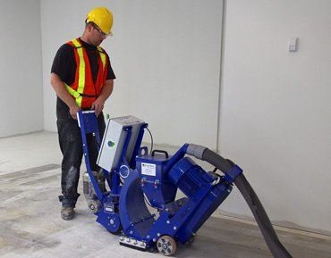 Shot blasting of concrete floors by Concrete Polishing & Sealing Ltd., Ottawa
