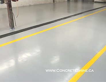 Concrete floor repair with Methycrylate Resin System by Concrete Polishing & Sealing Ltd., Ottawa.