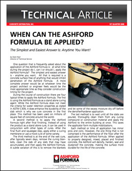 When can Ashford Formula be applied to concrete floors?
